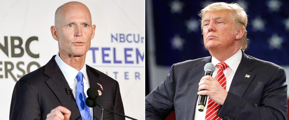 PHOTO: Gov. Rick Scott, left, and Donald Trump.