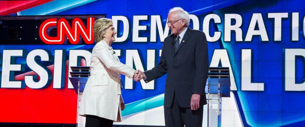 PHOTO: Hillary Clinton and Bernie Sanders shake hands during the democratic presidential debate on CNN.