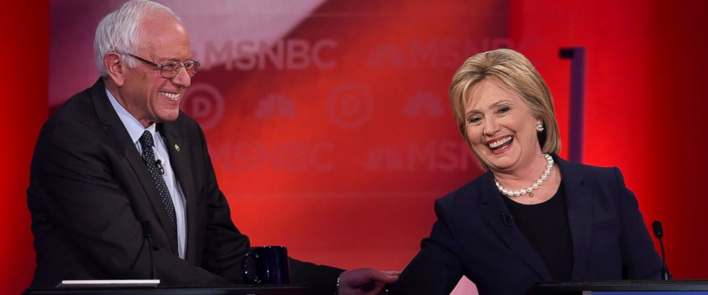 PHOTO: Hillary Clinton and Bernie Sanders shake hands as they participate in the MSNBC Democratic Candidates Debate at the University of New Hampshire in Durham, Feb. 4, 2016.