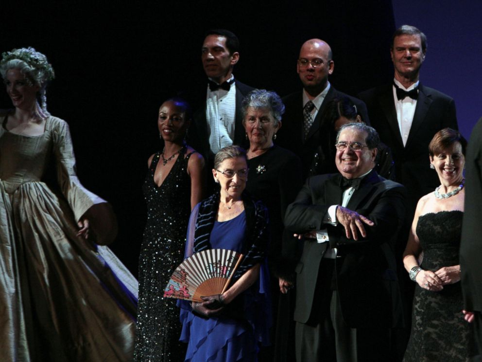 PHOTO:Justice Ruth Bader Ginsburg and Justice Antonin Scalia appear onstage during opening night of the Washington National Opera production of Ariadne Auf Naxos at The Kennedy Center Opera House, Oct. 2009, in Washington.