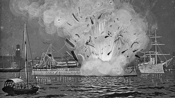 PHOTO: The explosion of the battleship Maine in Havana, Cuba in 1898.
