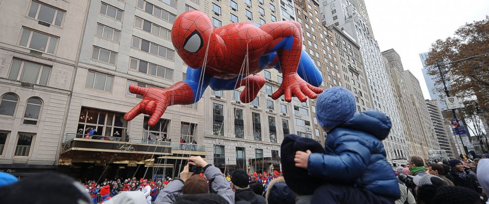 PHOTO: A Spiderman balloon floats at the 88th Annual Macys Thanksgiving Day Parade on Nov. 27, 2014 in New York City.