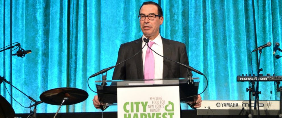 PHOTO: Steven Mnuchin speaks onstage at City Harvest: An Event Of Practical Magic, April 24, 2014, in New York.