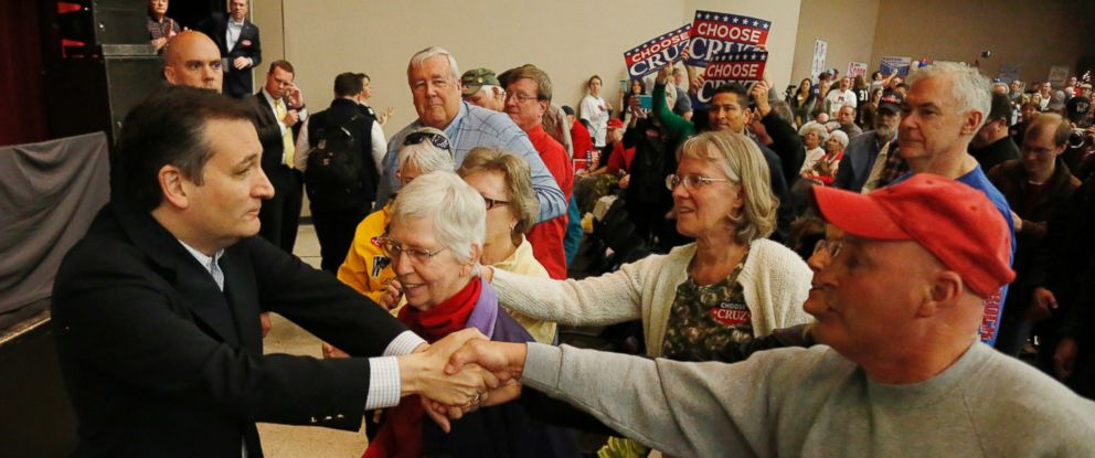 PHOTO: Sen. Ted Cruz shakes hands with supporters after addressing the Kansas GOP caucus at Century II in Wichita, Kan., March 5, 2016.