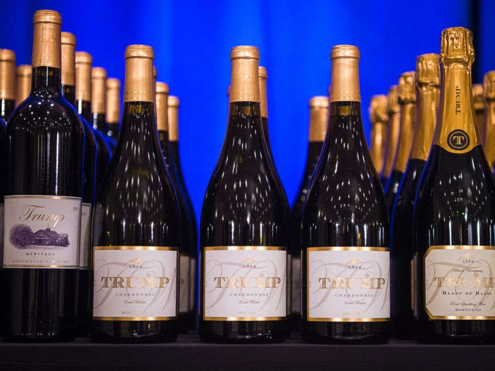 PHOTO:A display of Trump branded wine is seen before Donald Trump is speaks at a campaign press conference event at the Trump National Golf Club in Jupiter, Fla., March 08, 2016.