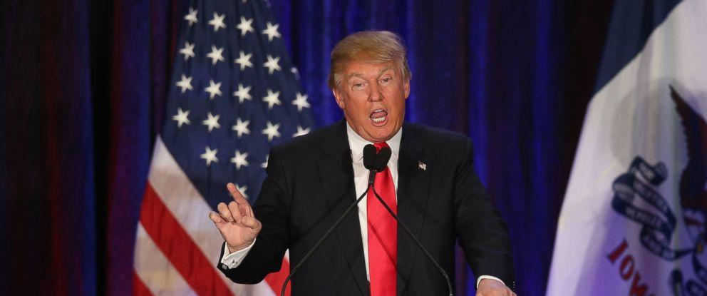 PHOTO: Republican presidential candidate Donald Trump speaks at his Iowa Caucus night gathering Feb. 1, 2016 in Des Moines, Iowa. Sen. Ted Cruz has won the Iowa Republican Caucus.