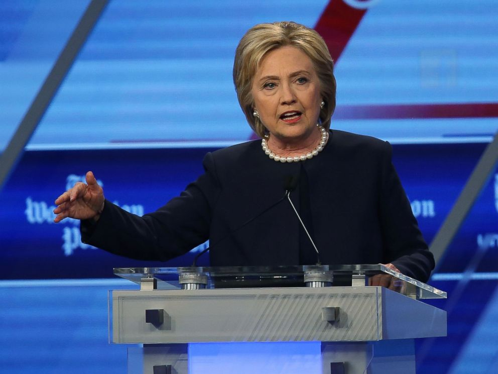 PHOTO:Hillary Clinton speaks during her debate against Bernie Sanders at the Univision News and Washington Post Democratic Presidential Primary Debate, March 9, 2016, in Miami.
