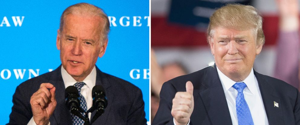 PHOTO: Vice President Joe Biden speaks at the Georgetown Law School in Washington, March 23, 2016. | Donald Trump speaks to guests during a campaign stop, March 29, 2016, in Janesville, Wis.