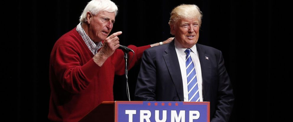 PHOTO:Former Indiana basketball coach Bobby Knight speaks while standing next to Donald Trump during a campaign event in Evansville, Ind., April 28, 2016.