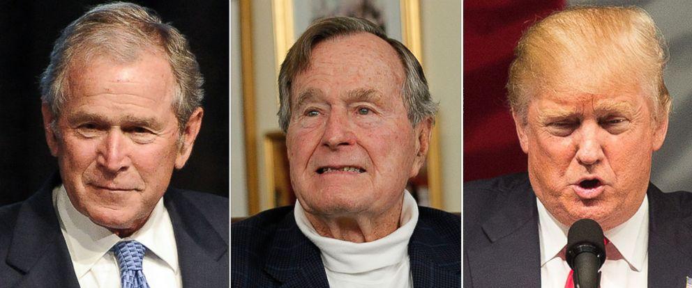 PHOTO: President George H.W. Bush and his son President George W. Bush have no plans to endorse Donald Trump, their spokesman told ABC News.