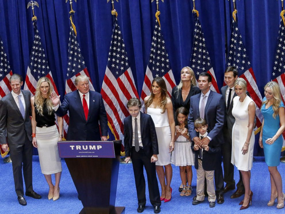 PHOTO: Real estate investor Donald Trump stands with his family after his announcement that he will run for the 2016 presidential elections at the Trump Tower in New York, June 16, 2015.