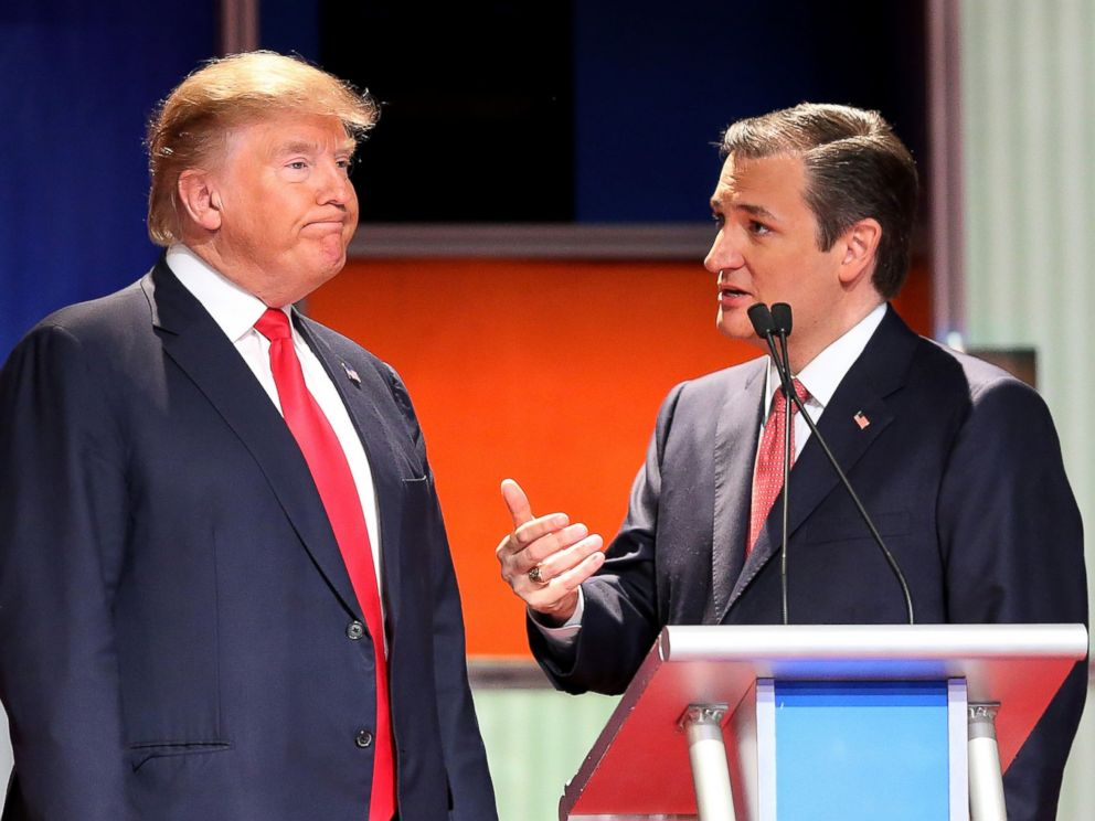 PHOTO: Donald Trump and Sen. Ted Cruz speak during the Fox Business Network Republican presidential debate at the North Charleston Coliseum and Performing Arts Center, Jan. 14, 2016, in North Charleston, South Carolina.