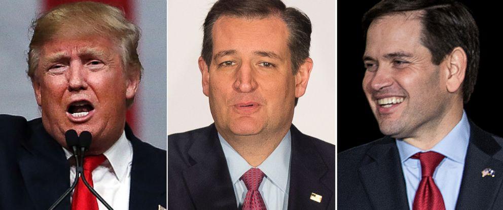 PHOTO: Donald Trump, Sen. Ted Cruz and Sen. Marco Rubio.