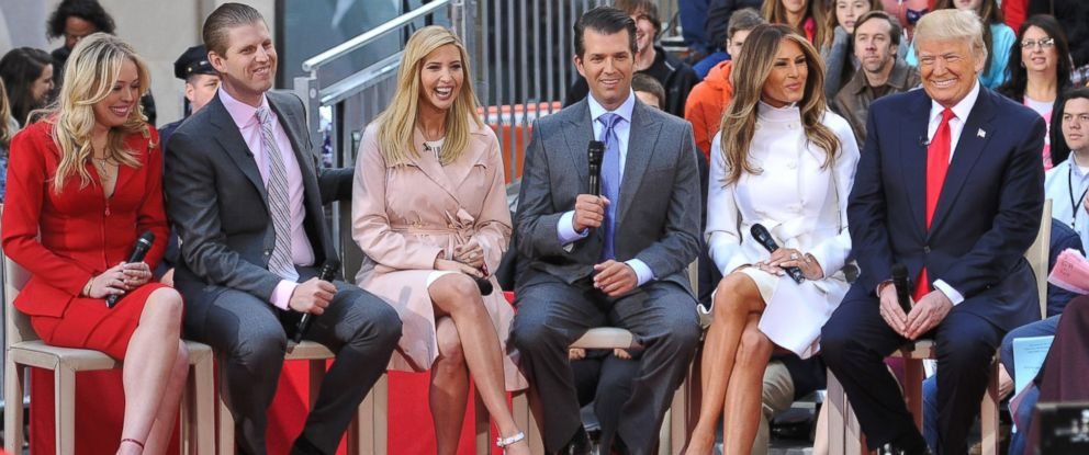 PHOTO:Republican presidential candidate Donald Trump, wife Melania Trump, son Donald Trump Jr, daughter Ivanka Trump, son Eric Trump, and daughter Tiffany Trump participate in a Town Hall, April 21, 2016, in New York.
