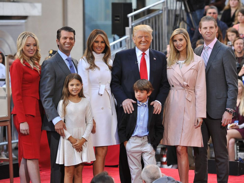 PHOTO: Tiffany Trump, Donald Trump Jr, Kai Trump, Melania Trump, Donald Trump, Tristan Trump, Ivanka Trump, and Eric Trump pose onstage during NBCs Today Trump Town Hall at Rockefeller Plaza, April 21, 2016 in New York City.
