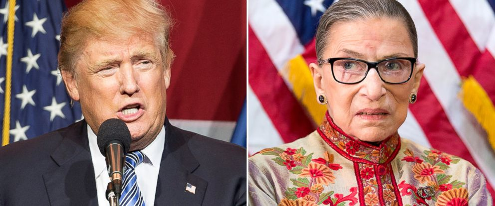 PHOTO: Donald Trump, left, and Supreme Court Justice Ruth Bader Ginsburg.