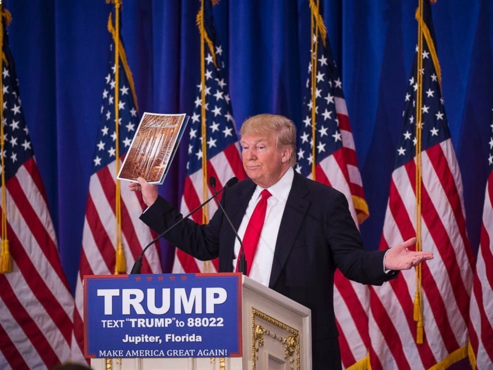 PHOTO:Donald Trump shows of his magazine as he speaks during a campaign press conference event at the Trump National Golf Club in Jupiter, Fla., March 08, 2016.