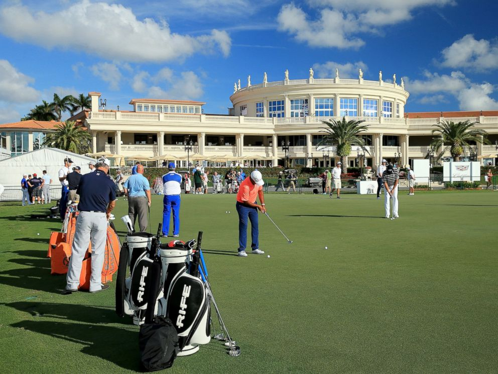 PHOTO: The putting green in front of the main resort building and clubhouse as a preview for the Cadillac Championship held on the Blue Monster Course at Trump National Doral is pictured March 3, 2015 in Doral, Fla.