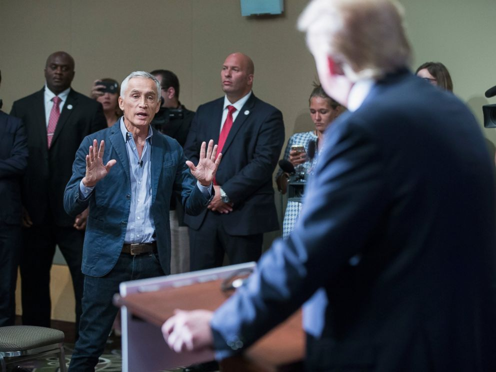 PHOTO: Donald Trump fields a question from Univision and Fusion anchor Jorge Ramos during a press conference held before his campaign event at the Grand River Center, Aug. 25, 2015, in Dubuque, Iowa.