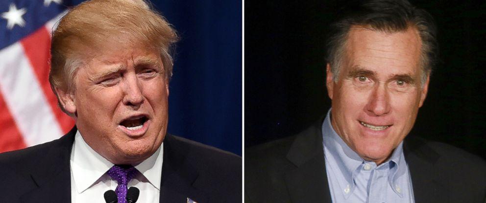 PHOTO: Donald Trump, left, and Mitt Romney