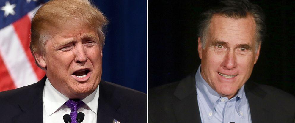 PHOTO: Donald Trump, left, and Mitt Romney.
