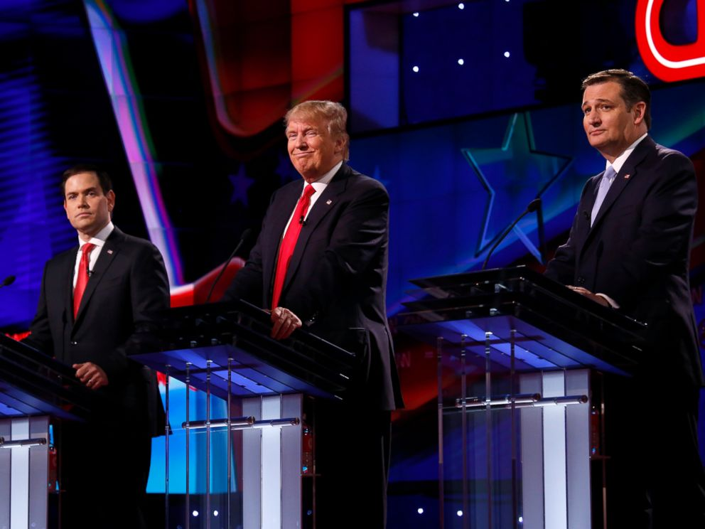 PHOTO: Marco Rubio, Donald Trump and Ted Cruz, take part in a debate, March 10, 2016.