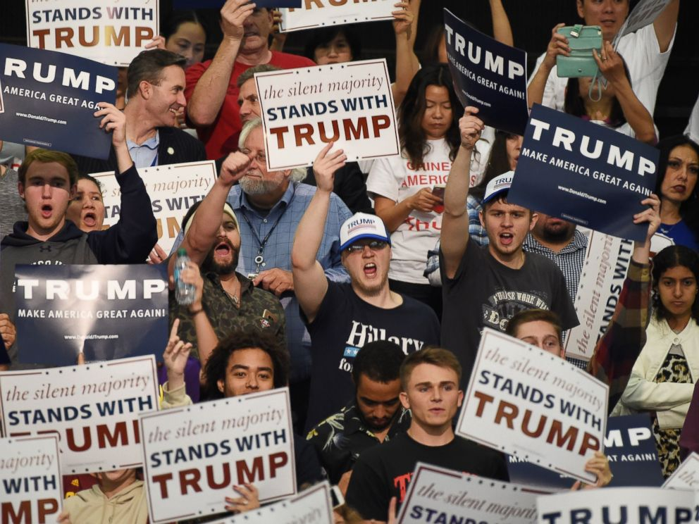 PHOTO:Supporters of the presumptive Republican presidential candidate Donald Trump attend a campaign rally, May 25, 2016, in Anaheim, Calif.