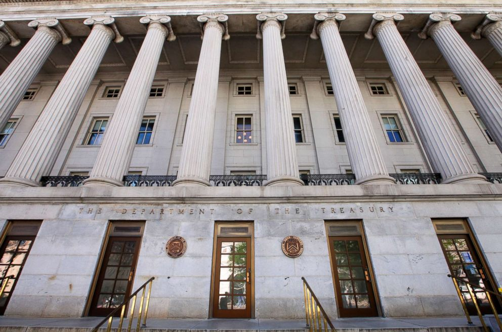 PHOTO: In this file photo, the U.S. Department of the Treasury building is pictured in Washington, D.C. on Apr. 20, 2013.