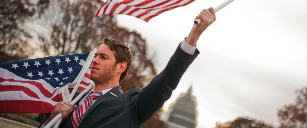 PHOTO: Montana Martin, a Marine veteran from West Virginia that served in Iraq, during a rally