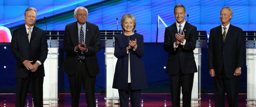 PHOTO: (L-R) Democratic presidential candidates Jim Webb, Sen. Bernie Sanders, Hillary Clinton, Martin OMalley and Lincoln Chafee take the stage for a presidential debate sponsored by CNN and Facebook at Wynn Las Vegas, Oct. 13, 2015 in Las Vegas.
