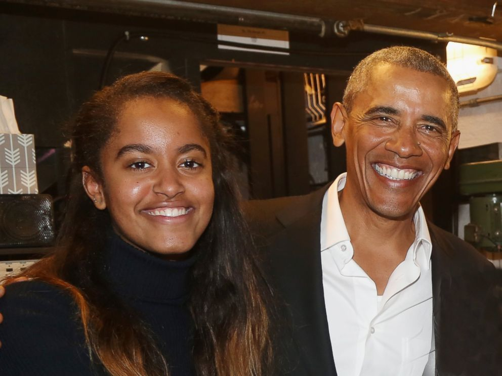 PHOTO: Malia Obama and father 44th President of The United States Barack Obama pose backstage at The Roundabout Theatre Companys production of Arthur Millers The Price on Broadway at The American Airlines Theatre on February 24, 2017 in New York City.