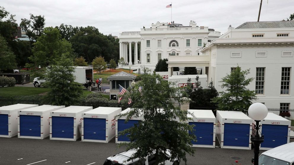 WASHINGTON, DC - AUGUST 11:  Furniture and materials from the White House are stored in temporary containers outside the West Wing while remodeling work continues August 11, 2017 in Washington, DC. The Government Services Administration is overseeing the rennovation work during the two week project to update and repair the working area of the White House, including a replacement of the 27-year-old White House heating, ventilation and air conditioning systems.