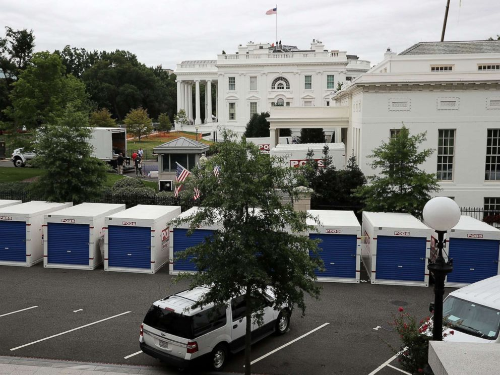 PHOTO: Furniture and materials from the White House are stored in temporary containers outside the West Wing while remodeling work continues August 11, 2017 in Washington, DC.
