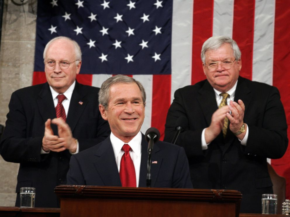 PHOTO: President George W. Bush, center, is applauded by Vice President Dick Cheney, left, and Speaker of the House Dennis Hastert, right, during Bushs State of the Union address at the U.S. Capitol in Washington in this Feb. 2, 2005 file photo.