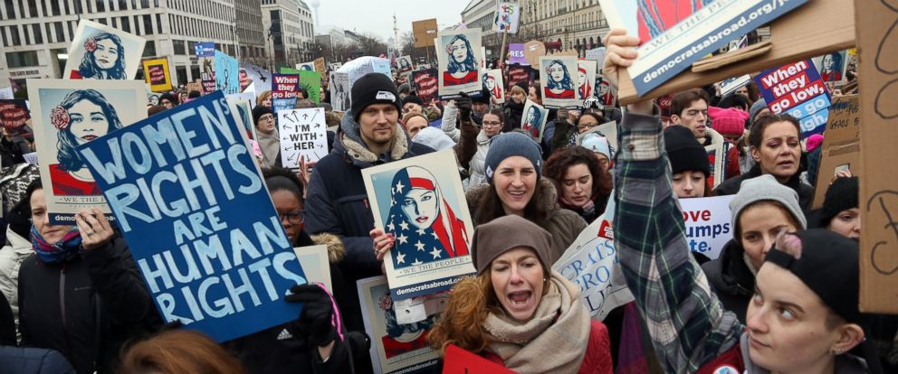 PHOTO: Women participants demonstrate in front of the United States Embassy and Brandenburg Gate one day after the inauguration of U.S. President Donald Trump, Jan. 21, 2017, in Berlin, Germany.