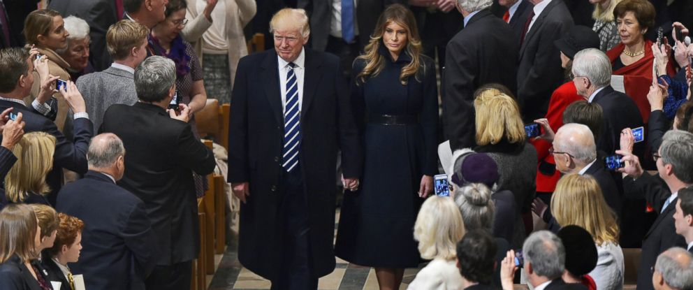 PHOTO: President Donald Trump and First Lady Melania Trump arrive for the National Prayer Service at the National Cathedral, Jan. 21, 2017, in Washington.