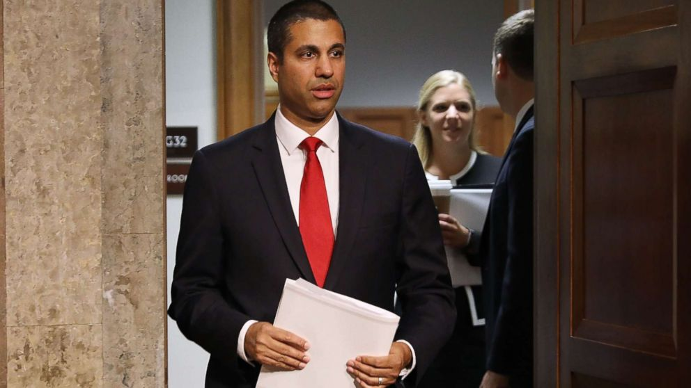 FCC Chairman Ajit Pai arrives for a confirmation hearing at the Dirksen Senate Office Building on Capitol Hill July 19, 2017 in Washington.