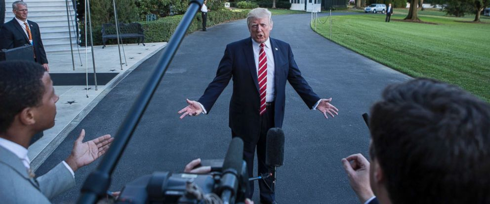PHOTO: President Donald Trump speaks with reporters outside the White House prior to his departure aboard Marine One on Oct. 7, 2017.