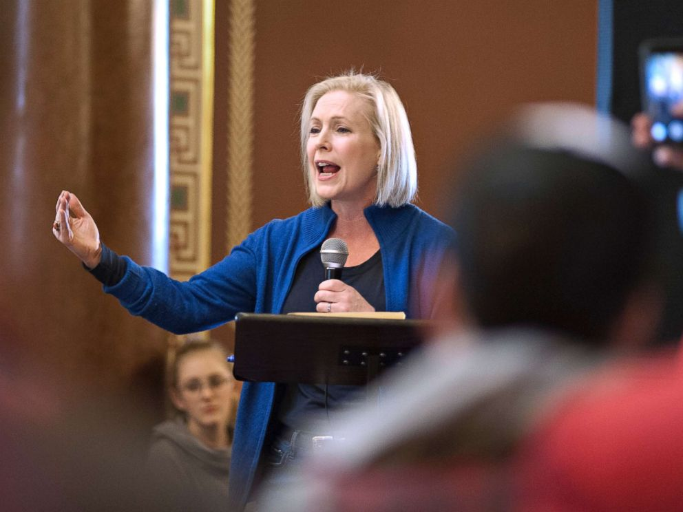 PHOTO: Senator Kirsten Gillibrand (D-NY) speaks during the Womens March at the Iowa State Capitol in Des Moines, Iowa, Jan. 19, 2019. Gillibrand has announced her candidacy for president in 2020.