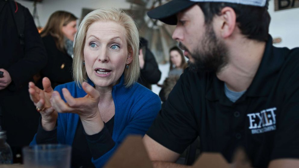 Senator Kirsten Gillibrand (D-NY) speaks with patrons at the Scenic Route Bakery in the East Village of Des Moines, Iowa, Jan. 19, 2019, after she spoke at the third annual Women's March at the Iowa State Capitol. Gillibrand has announced her candidacy for president in 2020.