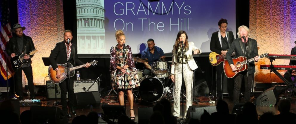 PHOTO: Jimi Westbrook, Kimberly Schlapman, Karen Fairchild and Phillip Sweet of the band Little Big Town perform after being honored at the 2018 GRAMMYs on the Hill in Washington D.C.