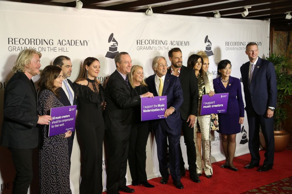 PHOTO: Members of the Recording Academy including President Neil Portnow, the Band Little Big Town, Representive Judy Chu (D-California) and Representive Doug Collins (R- Georgia) at GRAMMYS on the Hill in Washington D.C.