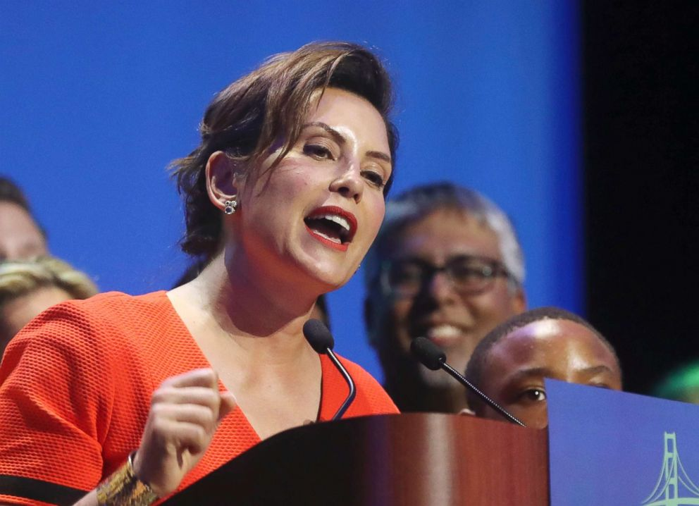 PHOTO: Michigan Democratic gubernatorial candidate Gretchen Whitmer addresses her supporters in Detroit after winning the Democratic primary on Aug. 7, 2018.