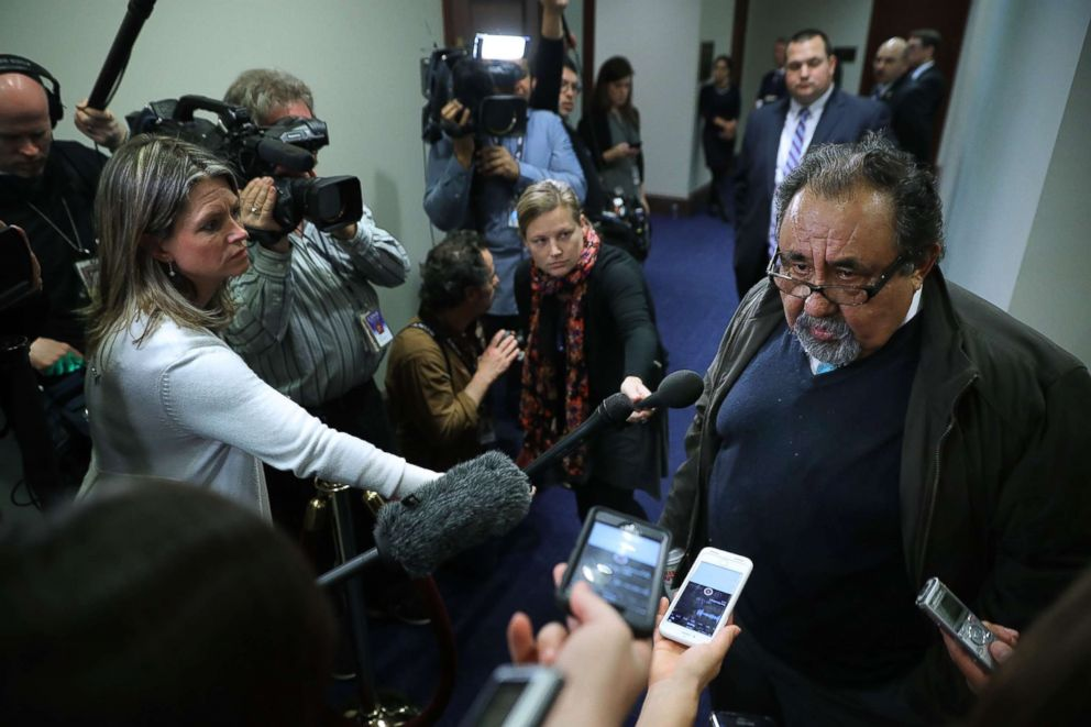 PHOTO: Rep. Raul Grijalva (D-AZ) talks to reporters as he leaves a House Democratic caucus meeting at the Capitol, Feb. 8, 2018.