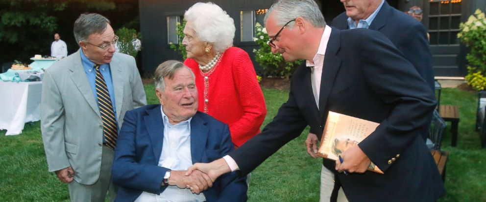PHOTO: President George H.W. Bush at the Dorothy Walker Bush Emergency Care Pavilion at Southern Maine Healthcare in Biddeford on Aug. 4, 2016.
