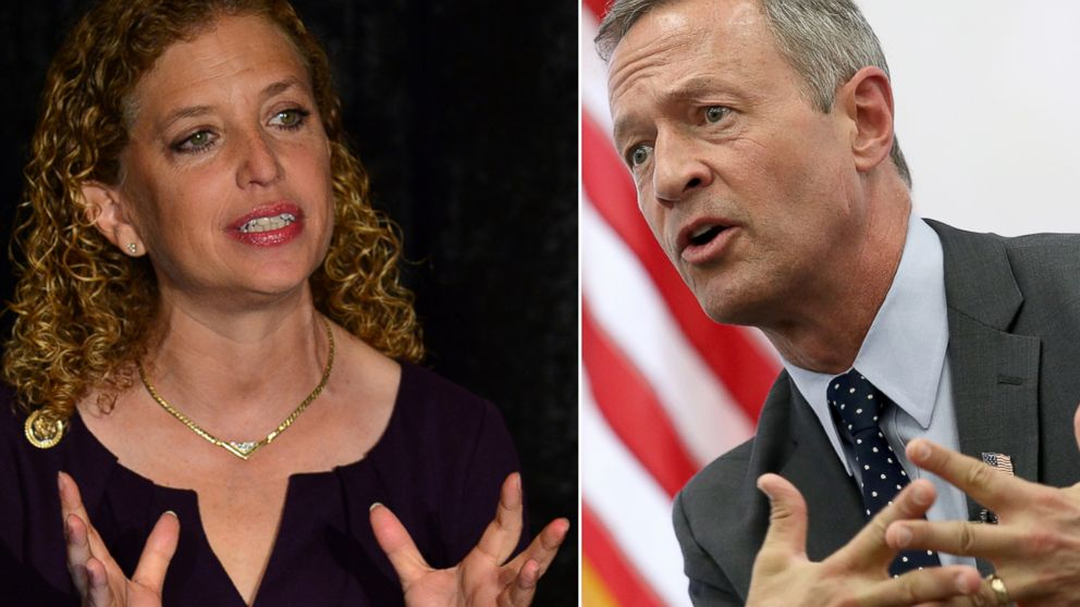 Debbie Wasserman Shultz at the David Posnack Jewish Community Center , Sept. 3, 2015 in Davie, Fla. Martin O'Malley speaks during an event at the Truman Center for National Policy July 23, 2015 in Washington.