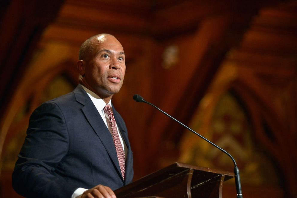 PHOTO: Deval Patrick attends the W.E.B. Du Bois Medal Ceremony and introduces John Lewis at Harvard Universitys Sanders Theatre, Sept. 30, 2014 in Cambridge, Massachusetts.