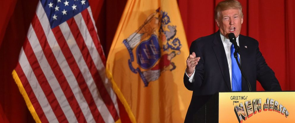 PHOTO: Donald Trump speaks to supporters at a fund raising event at the New Jersey National Guard Armory, May 19, 2016, in Lawrenceville, New Jersey.