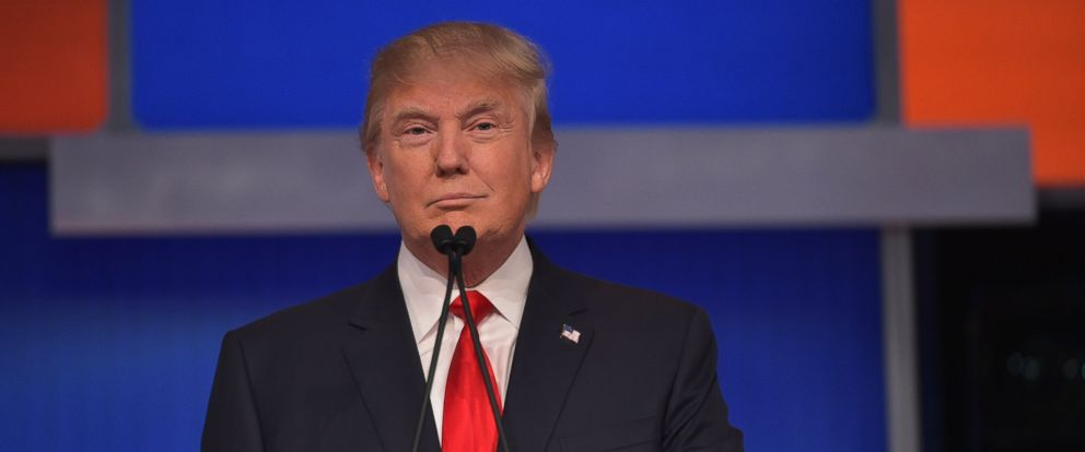 PHOTO: Real estate tycoon Donald Trump participates in the first Republican presidential primary debate, Aug. 6, 2015, at the Quicken Loans Arena in Cleveland.