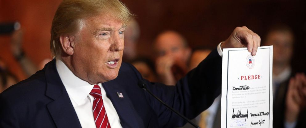 PHOTO: Donald Trump at a news conference in New York after he signed the pledge to support the Republican nominee in the 2016 general election, Sept. 3, 2015.